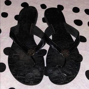 Tory Burch Thora Black  Thong Flip Flop Sandals